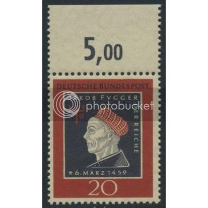 1959 GERMANY Scott 798 (Michel 307) MNH SINGLE w/ top margin (d)