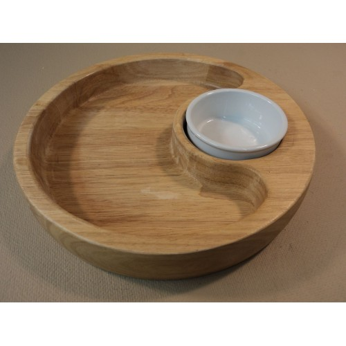 Standard Round Chip Bowl Platter 12in Diameter x 2in H With Dip Cup Wood Ceramic