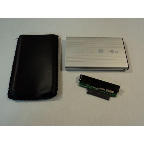 Standard 2.5-in SATA External Case USB 2.0 Silver Includes Soft Case