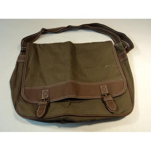 Standard Laptop Shoulder Bag Lightweight Khaki/Brown Nylon Faux Leather