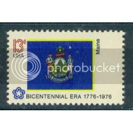 1655 13c Maine Flag Fine MNH