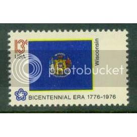 1662 13c Wisconsin Flag Fine MNH