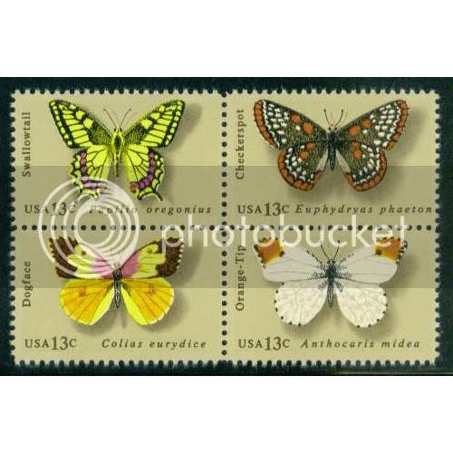 1712-1715 13c Butterflies Fine MNH Plt/12 UR 37830-35 PltL11671