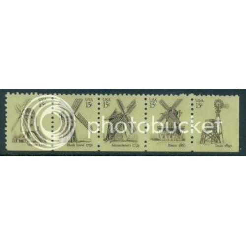 1738-1742 15c Windmills Fine MNH Dry Gum BPS Bottom