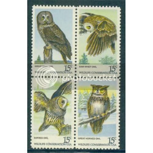 1760-1763 15c Owls Fine MNH Plt/4 UR 38793 Plt15137