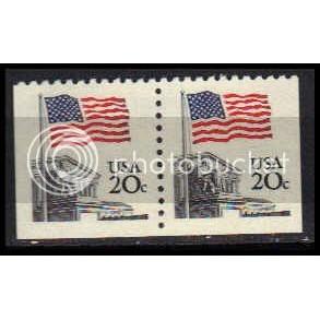1896 20c U.S. Flag Fine MNH Dry Gum BPS Hor Pair