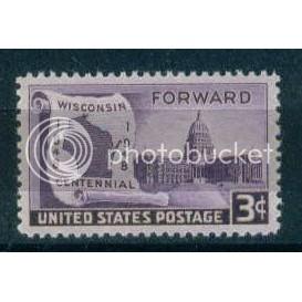957 3c Wisconsin Just Clears MNH Plt/4 UR 23813 Plt05754