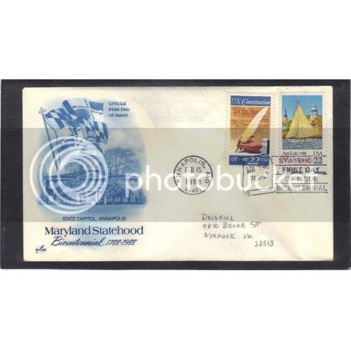 Art Craft 2342 22c Maryland + 2360 (Cachet-Penciled Address) CV0008