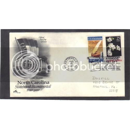 Art Craft 2347 25c North Carolina + 2360 FDC (Cachet-Penciled Address) CV0013