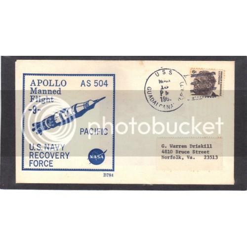 Event Apollo 9 Recovery 1284 6c Roosevelt (Cachet-Label Address) CV0970