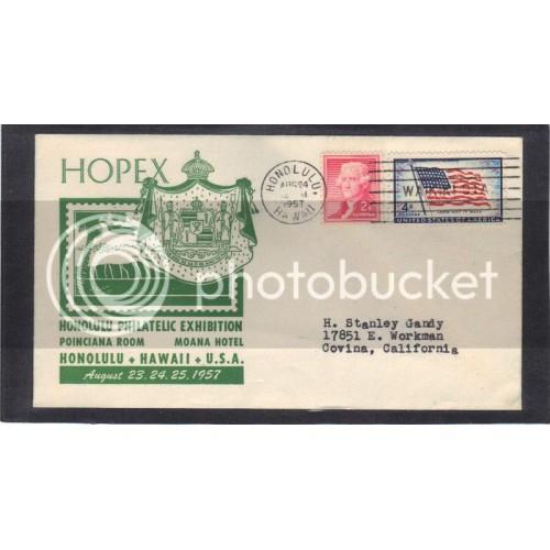 Event HOPEX 1094 4c Flag 1033 2c Jefferson (Cachet-Typed Address) CV41540