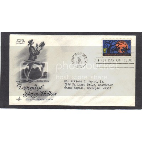 Art Craft 1548 10c Sleepy Hollow FDC (Cachet-Typed Address) CV41695