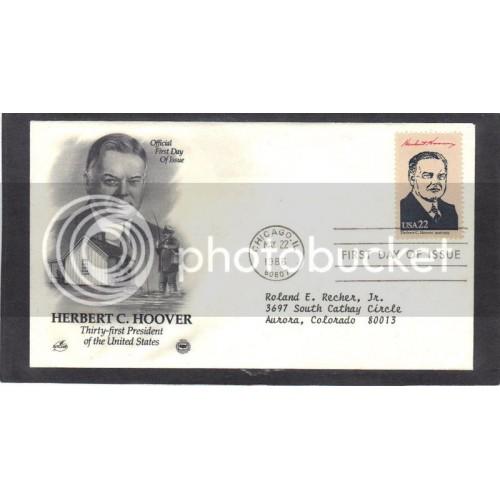 Art Craft 2219c 22c Hoover FDC (Cachet-Typed Address) CV41904