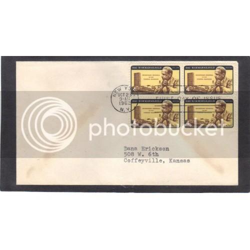 FDC 1203 4c Hammarskjold Blk/4 (No Cachet-Typed Address) CV41973