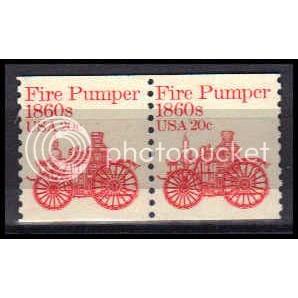 1908 20c Fire Pumper Fine MNH Dry Gum Pair Z5717