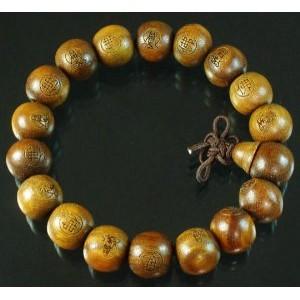 Carved Natural Wood Beads Buddhist Prayer Mala Bracelet DI711
