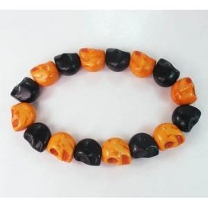 New Twin Color Turquoise Orange Black Skull Bead Beads Stretch Bracelet ZZ2274