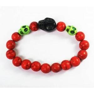 Turquoise Green Black Skull Bead Red Veins Ball Beads Stretch Bracelet ZZ2511