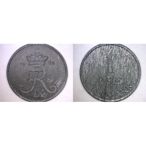 1965 Danish 1 Ore World Coin - Denmark