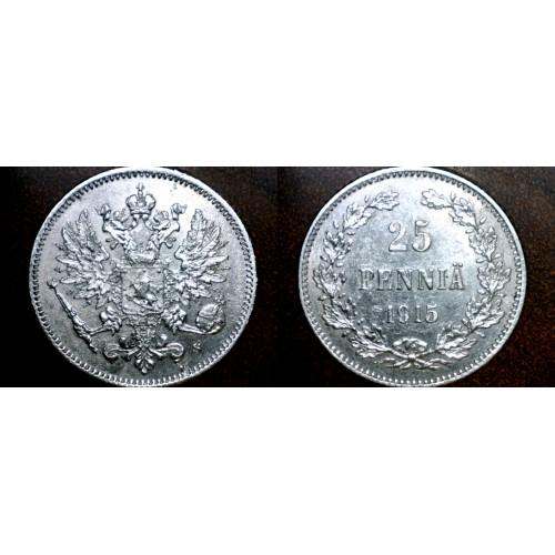 1915-S Finland 25 Pennia World Silver Coin Russian Admin