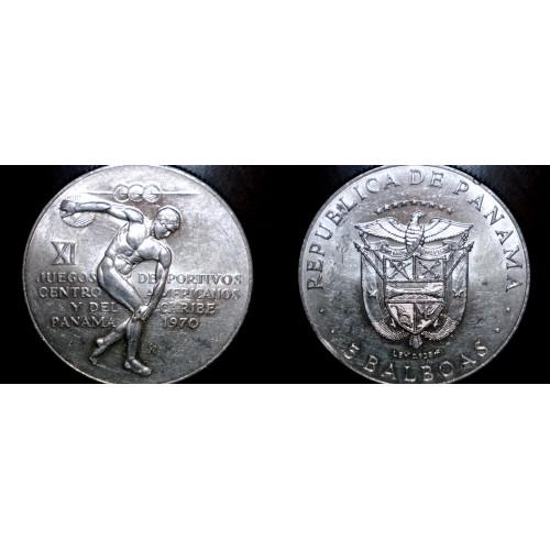 1970 Panamanian 5 Balboa World Silver Coin - Panama - Caribbean Games