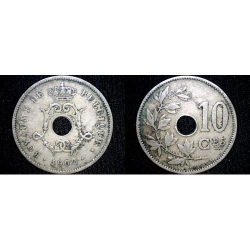 1902 Belgian 10 Centimes World Coin - Belgium