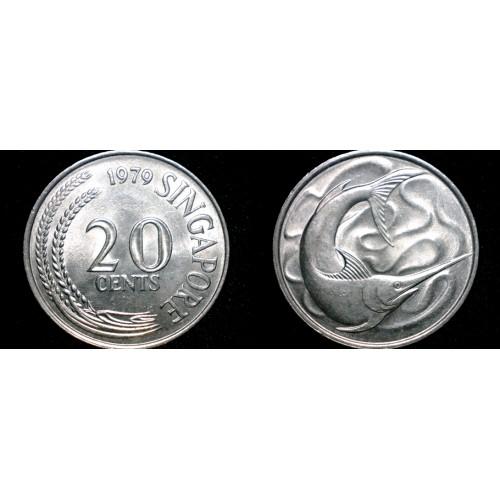 1979 Singapore 20 Cent World Coin - Swordfish