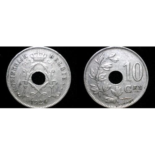 1924 Belgian 10 Centimes World Coin - Belgium