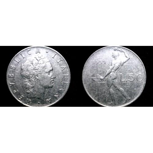 1955 Italian 50 Lire World Coin - Italy