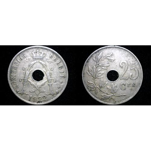 1922 Belgian 25 Centimes World Coin - Belgium