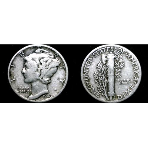1943-P Mercury Dime Silver