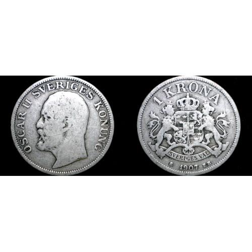 1907 Sweden 1 Kronor Krona  World Silver Coin