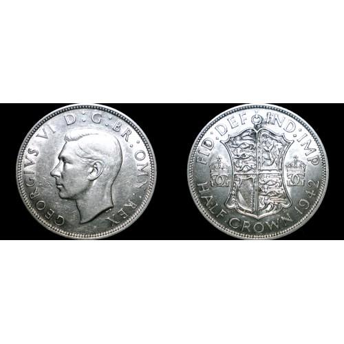 1942 Great Britain Half Crown World Silver Coin - UK - England