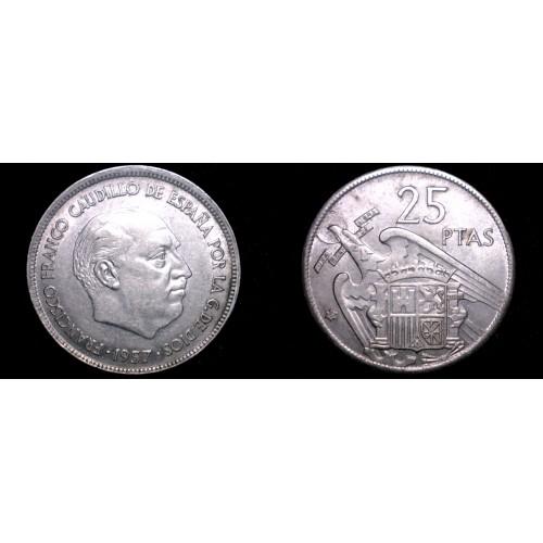 1957 (67) Spanish 25 Peseta World Coin - Spain Caudillo