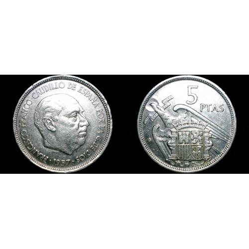 1957 (71) Spanish 5 Peseta World Coin - Spain Caudillo