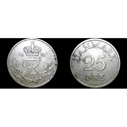 1951 Danish 25 Ore World Coin - Denmark