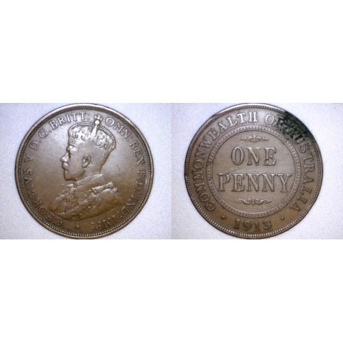 1913 Australian 1 Penny World Coin - Australia