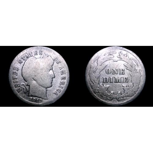 1913-P Barber Dime Silver