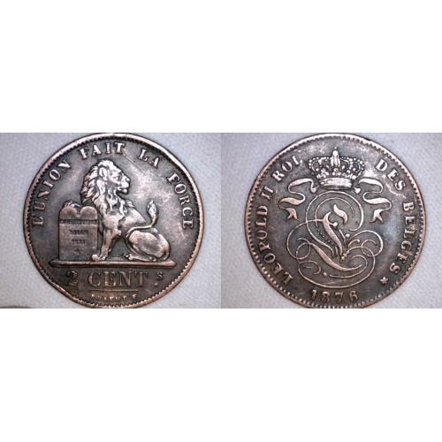 1876 Belgium 2 Centimes World Coin