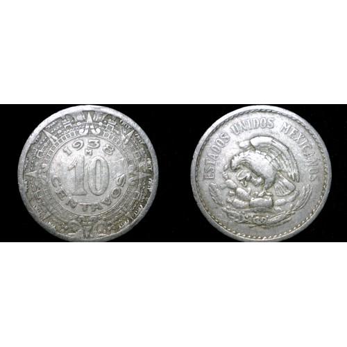 1938 Mexican 10 Centavo World Coin - Mexico