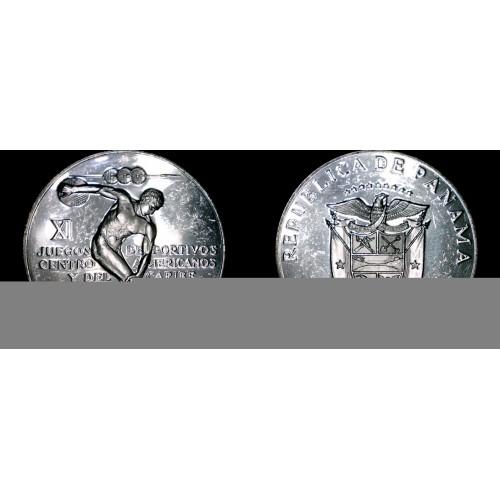 1970 Panamanian 5 Balboa Silver Proof Coin - Panama Caribbean Games