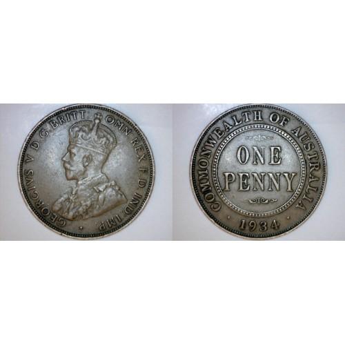 1934 (m) Australian 1 Penny World Coin - Australia