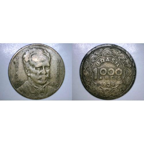1939 Brazilian 1000 Reis World Coin - Brazil