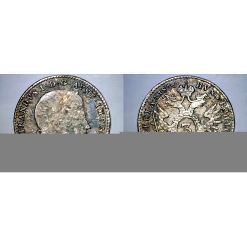 1836-A Austrian 3 Kreuzer World Silver Coin - Austria