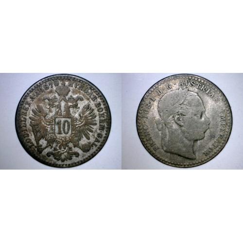 1870 Austrian 10 Kreuzer World Silver Coin - Austria