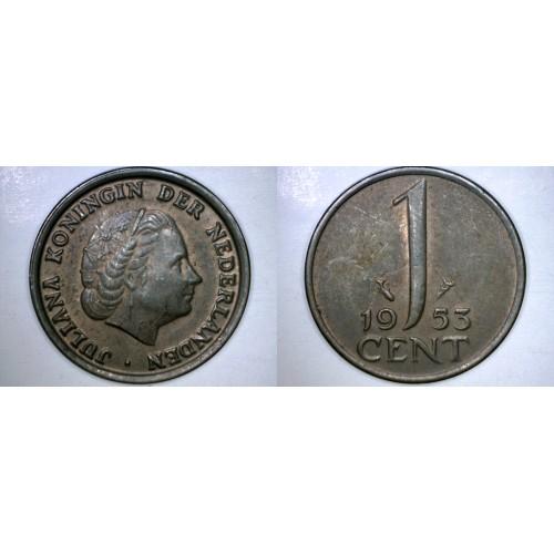 1953 Netherlands 1 Cent World Coin