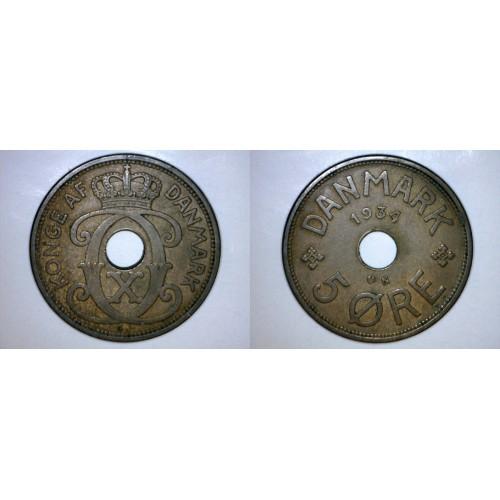 1934 N-GJ Danish 5 Ore World Coin - Denmark