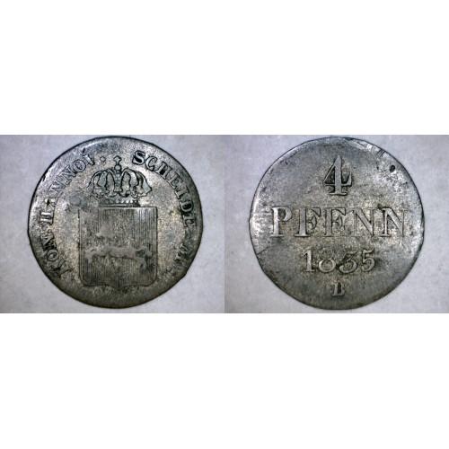 1835-B German States Hannover 1/2 Mariengroschen (4 Pfennig) World Silver Coin