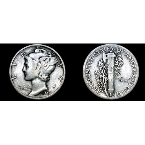 1936-P Mercury Dime Silver