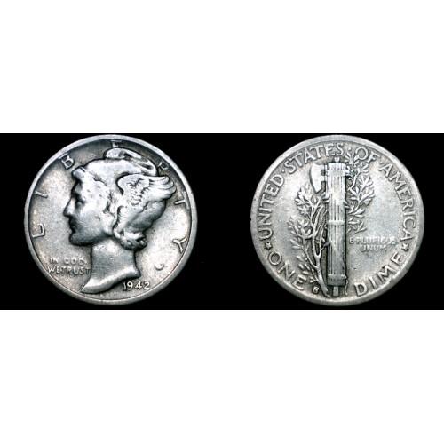 1942-S Mercury Dime Silver